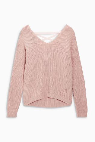 Buy Pink Lace Back Sweater from the Next UK online shop | Fashion ...