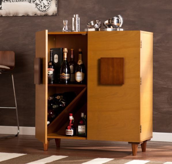 Home Bar Furniture Cabinet Mini Small Storage Wine Liquor Bottle Holder Rack