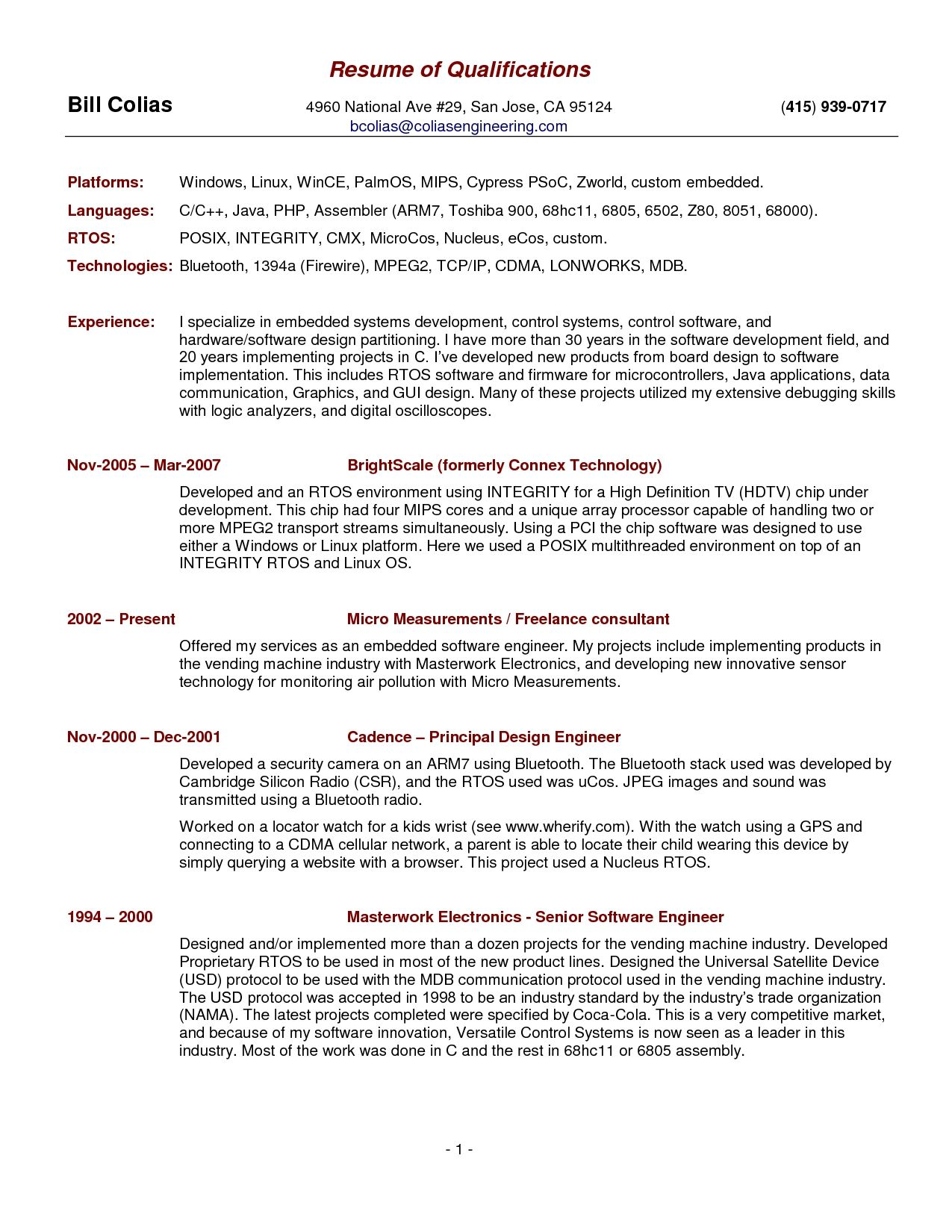 Free Resume Template Summary Qualifications Resume Examples