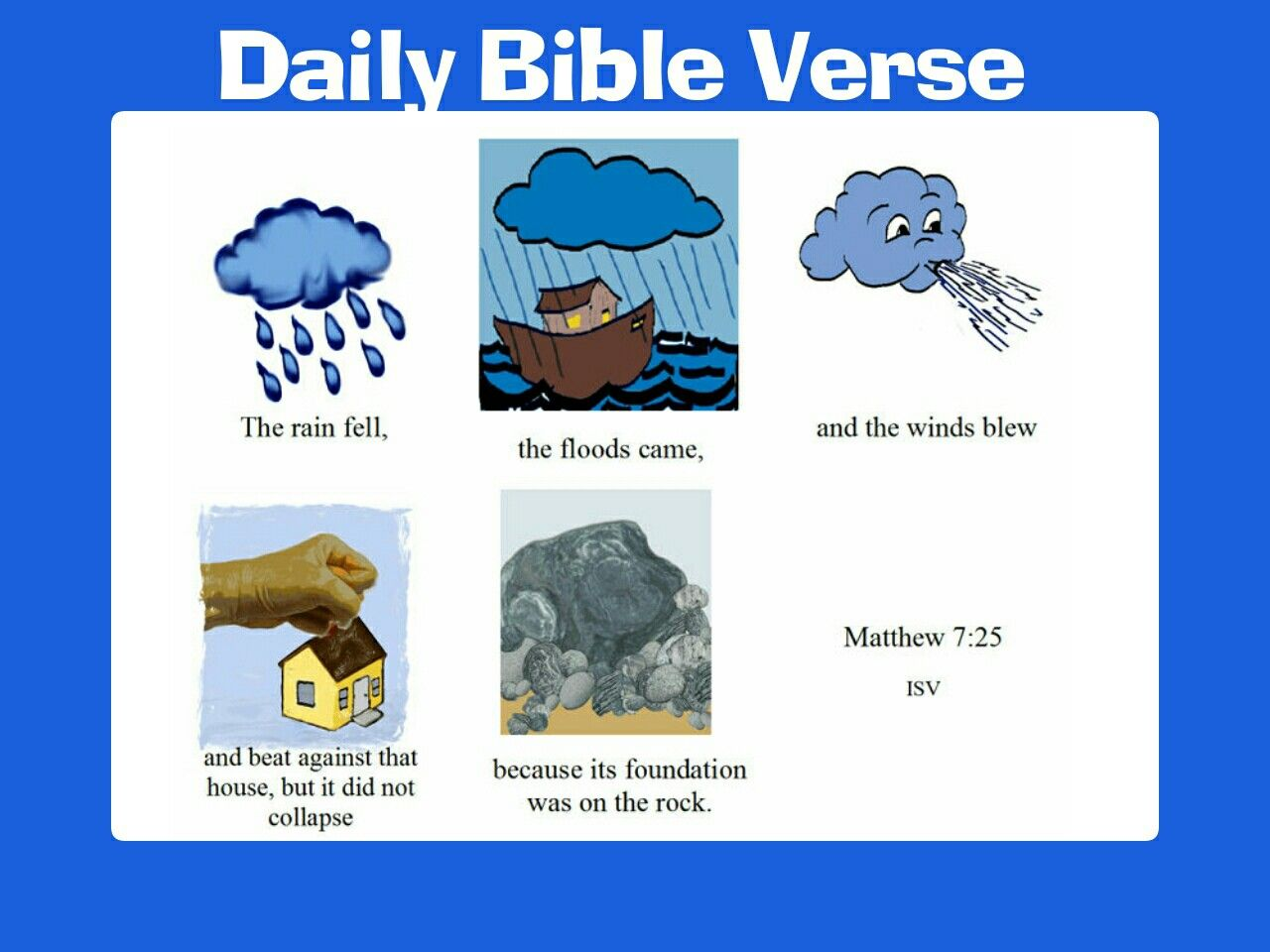 Matthew 7:25 King James Version (KJV) And the rain descended, and ...