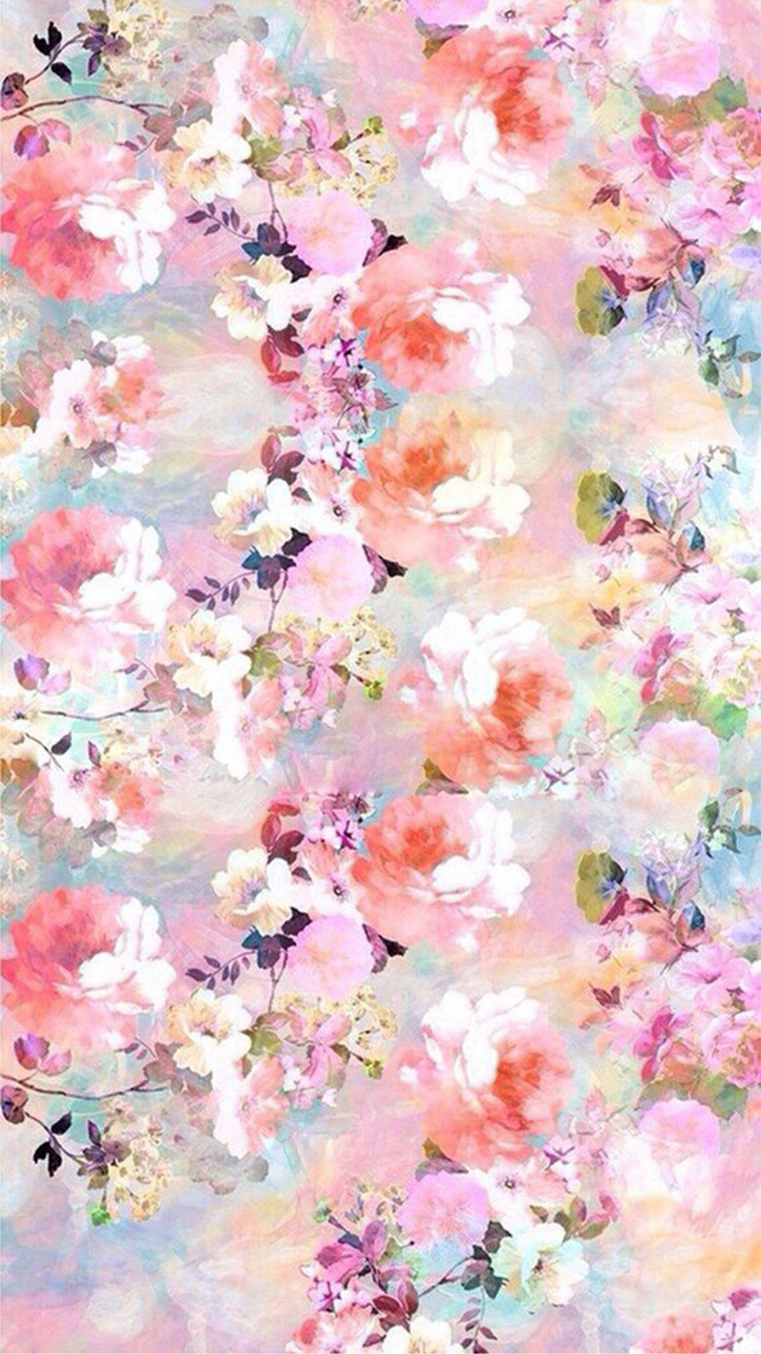 Watercolor Flowers Painting Iphone 8 Wallpaper Floral Iphone Background Painting Wallpaper Watercolor Flowers Paintings