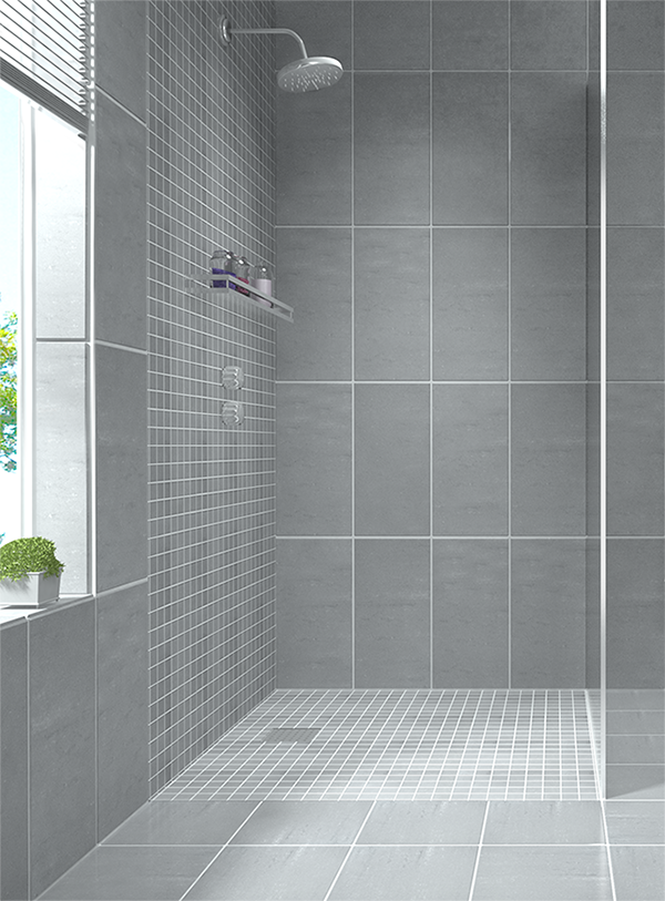 Create a modern looking bathroom by mixing different for Warm feel bathroom floor tiles