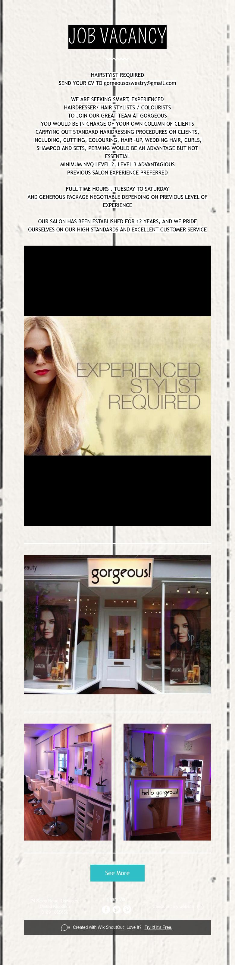 Job vacancy hair stylist jobs hair and beauty salon