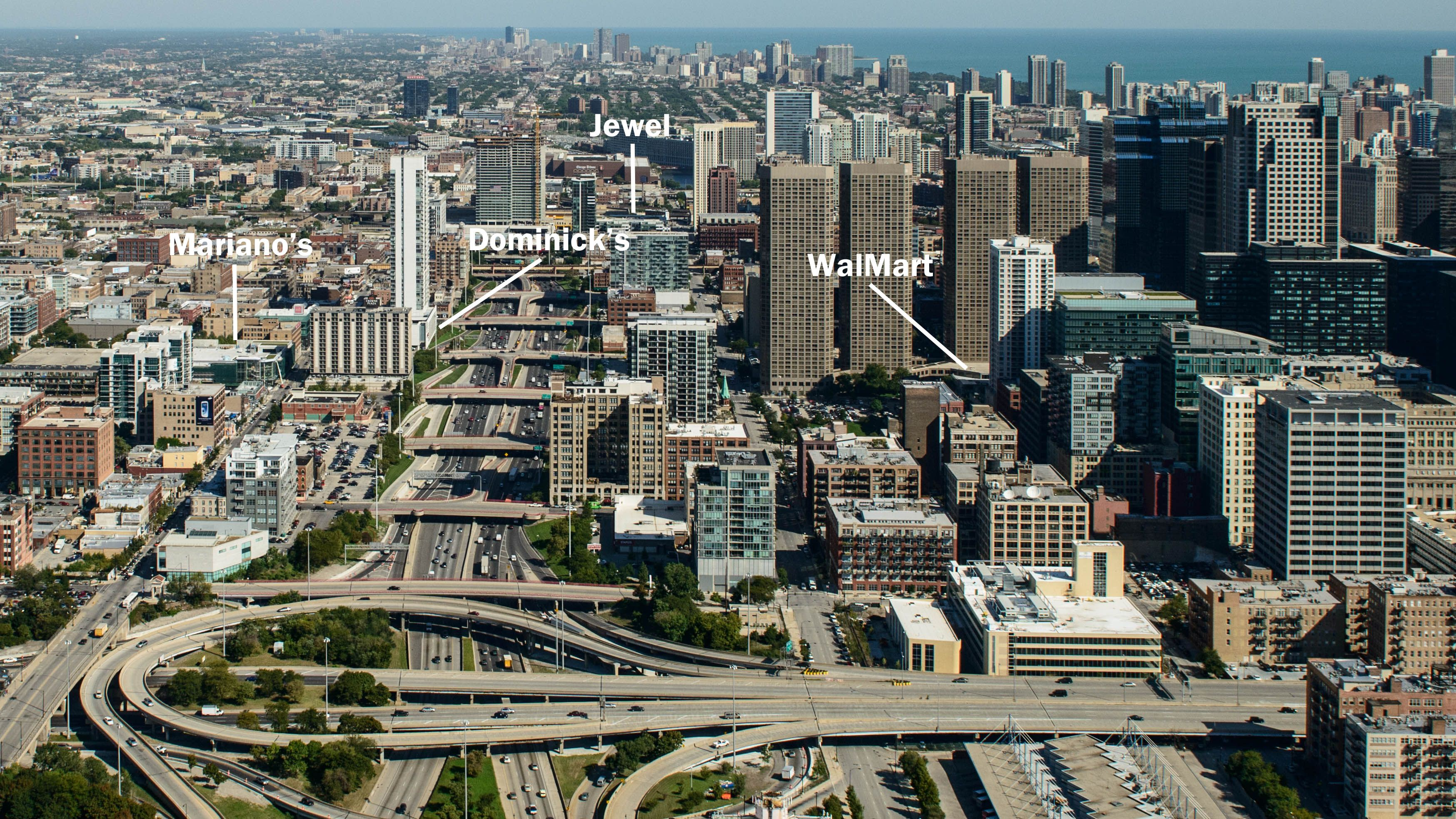 Aerial view of West Loop grocers Chicago PT