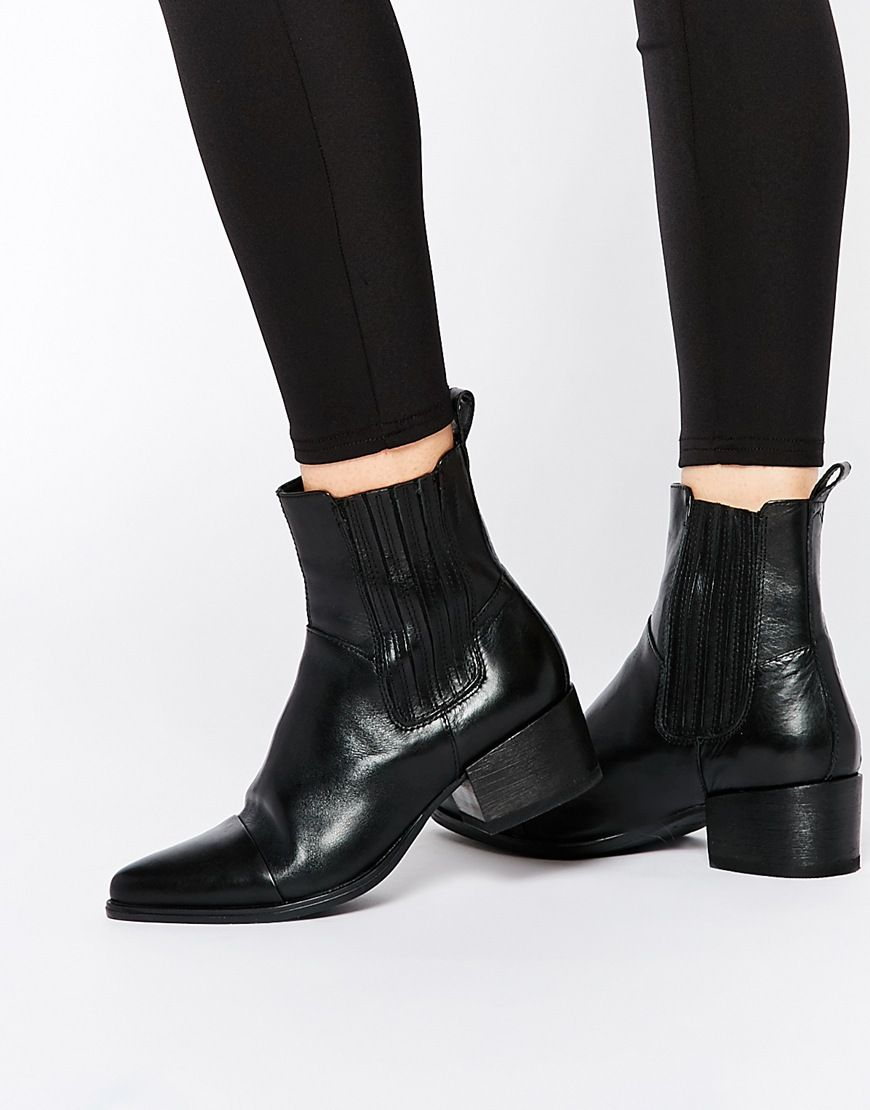 Image 1 of Vagabond Marja Black Leather Point Ankle Boots