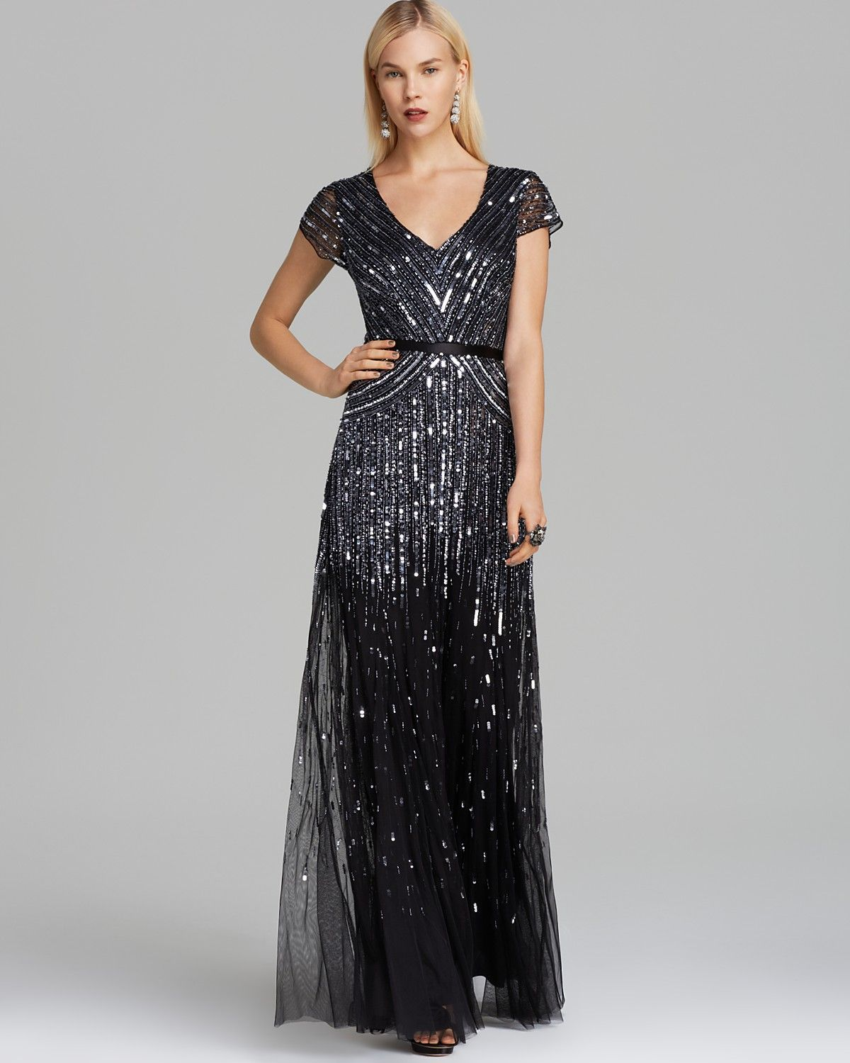 Papell cap sleeve beaded sequined gown dresses women macy s - Clothing Adrianna Papell V Neck Beaded Gown Cap Sleeve Bloomingdale S