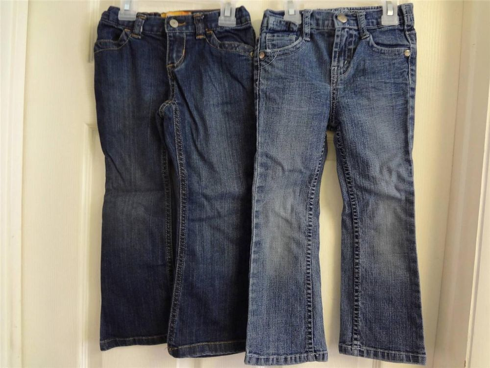 GIRLS CLOTHES SIZE 4 TWO PAIR BLUE JEANS BONGO BLING & OLD NAVY FLARE KIDS PANTS
