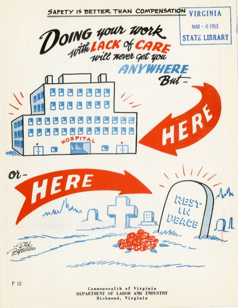 Virginia Department of Labor and Industry Safety Poster, 1953 ...