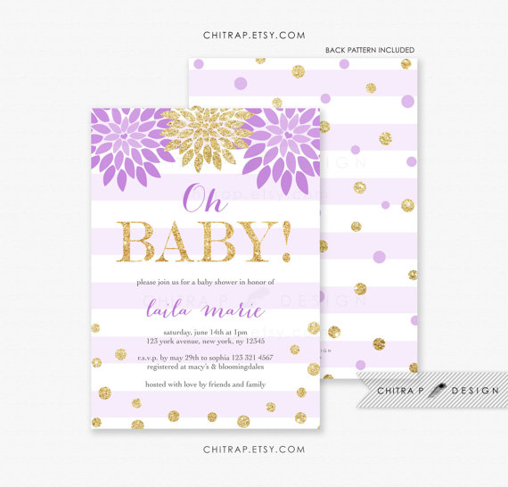 Oh baby shower invitation printed purple lavender gold floral purple oh baby shower invitations with luxe white envelopes printed lavender gold floral confetti babies sprinkle glitter girl white brunch boy striped filmwisefo