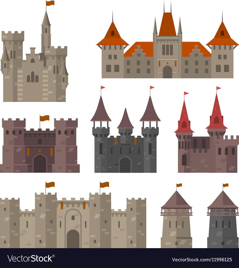 Medieval Castles Fortresses And Strongholds Vector Image Castle Illustration Castle Medieval Castle