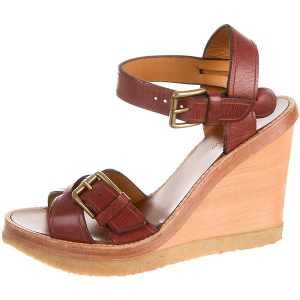 Pre-owned Isabel Marant Wedges (565 ILS) ❤ liked on Polyvore featuring shoes, sandals, brown, slingback sandals, leather sandals, brown leather shoes, leather slingback sandals and wood heel sandals