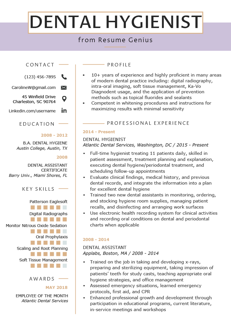 Dental Hygienist Resume Example & Writing Tips Resume