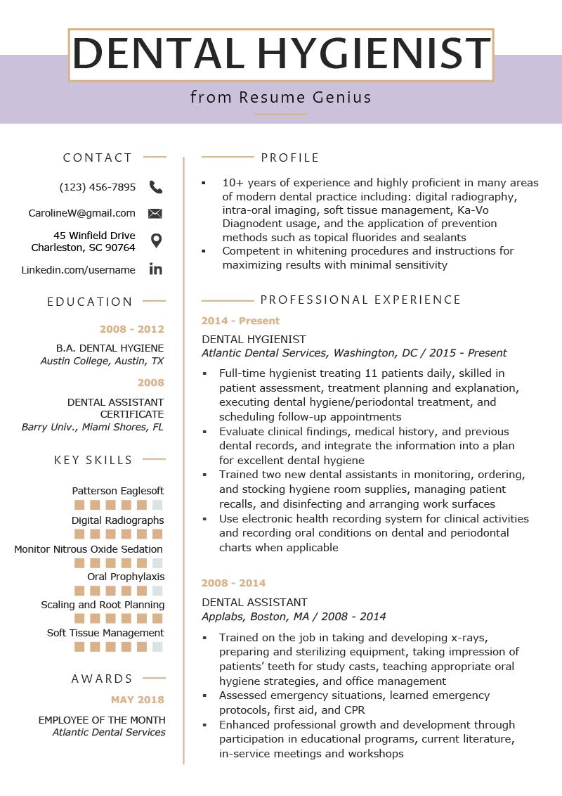 Dental Hygienist Resume Example & Writing Tips Resume