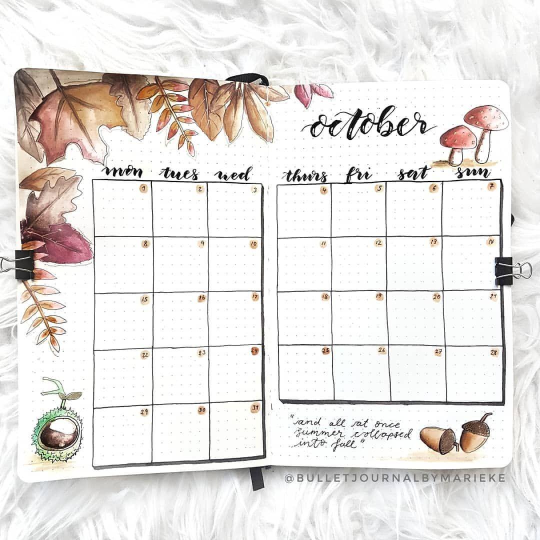 Monthly calendar #octoberbulletjournal