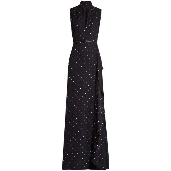 Buy Cheap Low Cost Cheap Sale 2018 Unisex V-neck polka-dot print silk-georgette gown Elie Saab Outlet Footlocker Store With Big Discount Websites For Sale q2CziH2