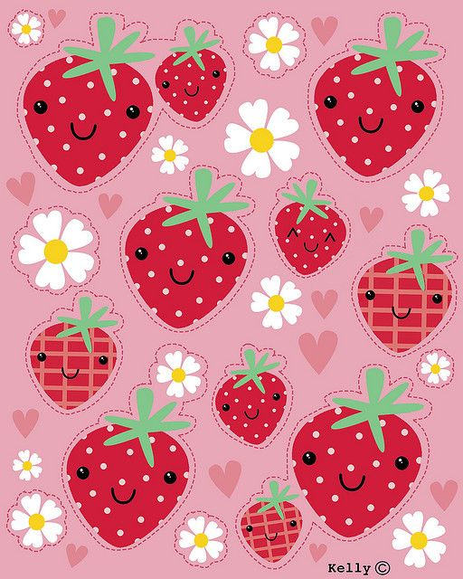 Strawberry stickers by Kelly Cottrell ...... Cuuuute!
