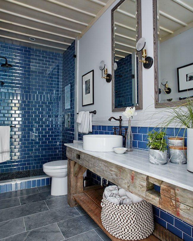 Teal Bathroom with gorgeous subway tile. | Blue...from powdery to ...