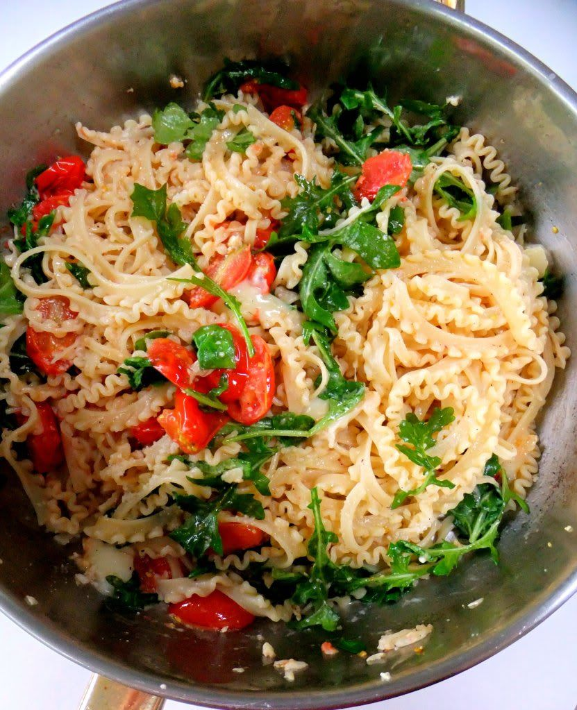 quick meal... pasta, arugula, and tomatoes. My Idea of Fast Food - Proud Italian Cook