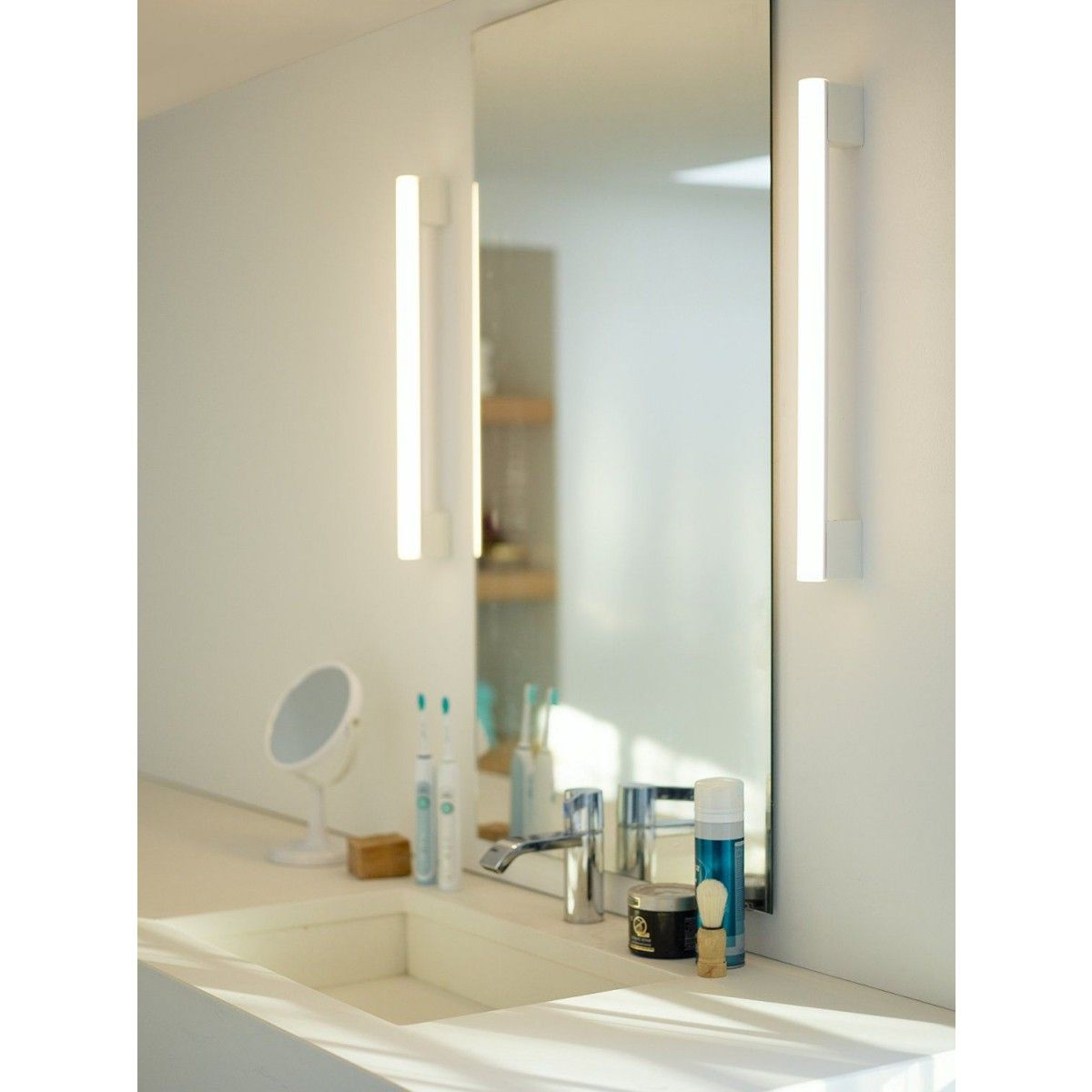 Bathroom Fixtures For Less insp: 2 base linestra light with wall mounted frame-less mirror