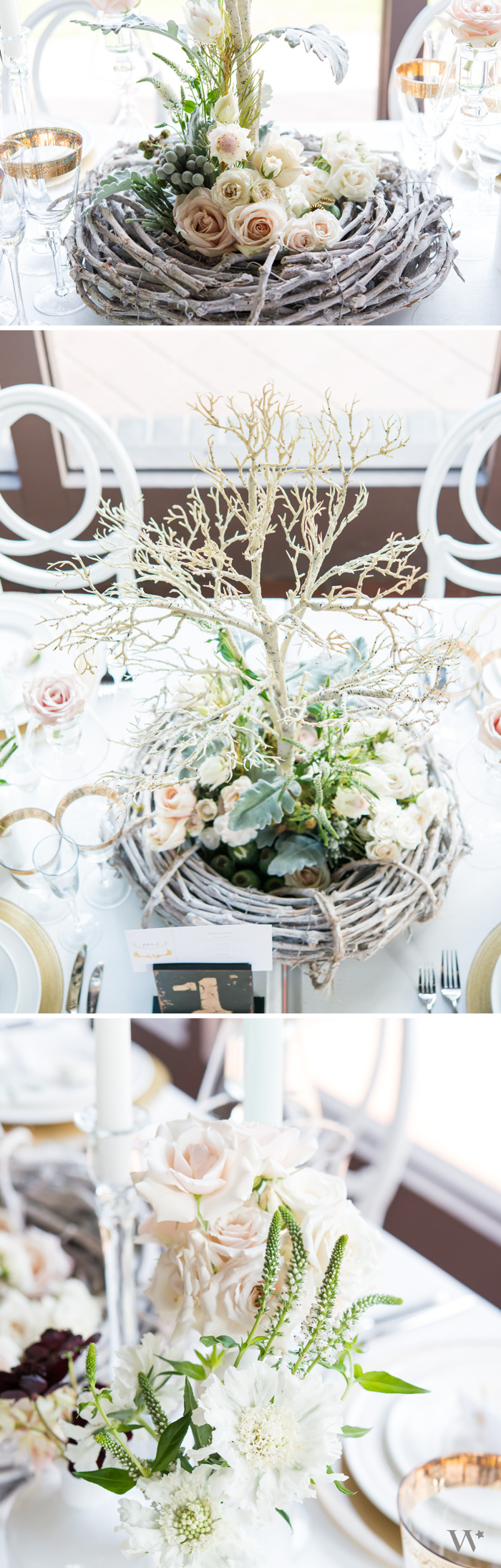 Woodland elements mixed with classic gold and white make a gorgeous ...