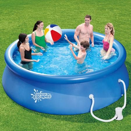 summer escapes 12 x 30 quick set round above ground swimming pool with filter pump system