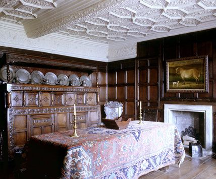 The Dining Room At East Riddlesden Hall West Yorkshire Showing Table Fireplace And