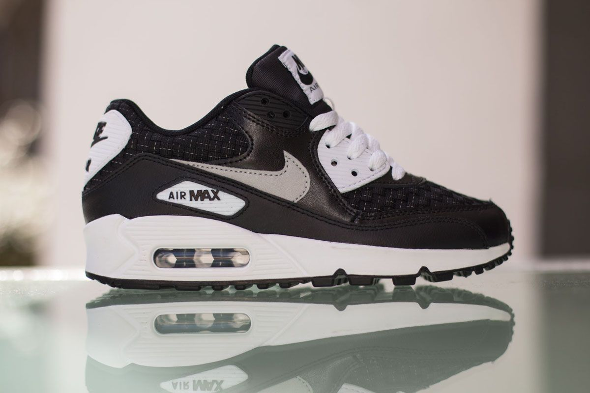 "buy popular 3461b e2da2 ... Nike Air Max 90 Premium Mesh GS ""White, Black Reflect Silver"" ..."