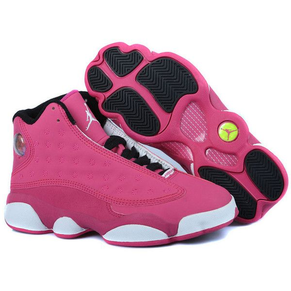 reputable site 86994 054f1 Women Air Jordan 13 GS Pink ❤ liked on Polyvore featuring shoes, sneakers,  sport shoes, sport sneakers, leather sneakers, hologram shoes and sporting  shoes