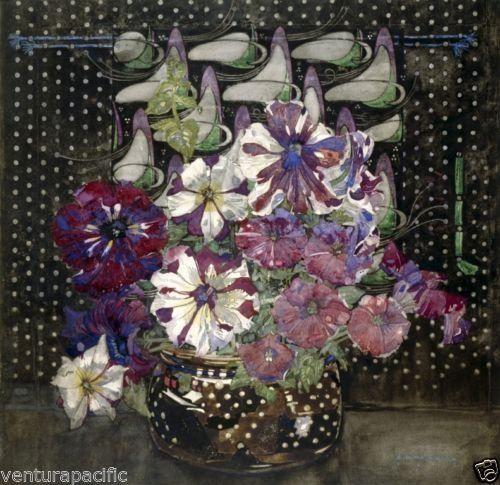 Petunias : Charles Rennie Mackintosh : circa 1916 [Art Nouveau] ART PRINT Archival Reprint Company
