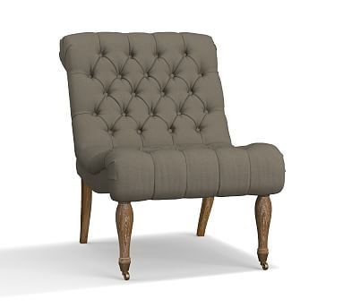 carolyn tufted upholstered slipper chair polyester wrapped cushions textured basketweave metal gray coussins de