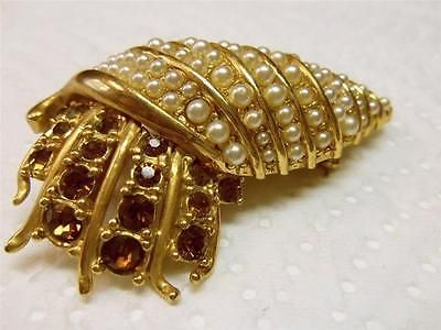 Gorgeous Vintage Seashell Brooch Covered with Pearls & Brown Stones.