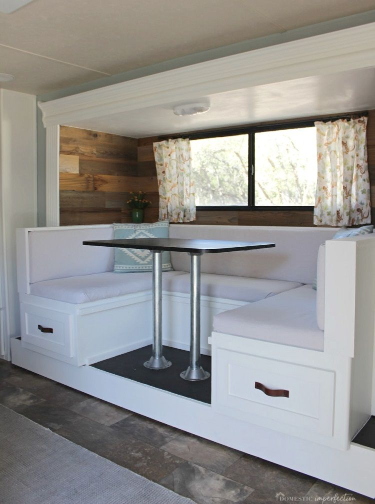 20 Rv Dinner Table Ideas Camper Cushions Reupholster Space Saving