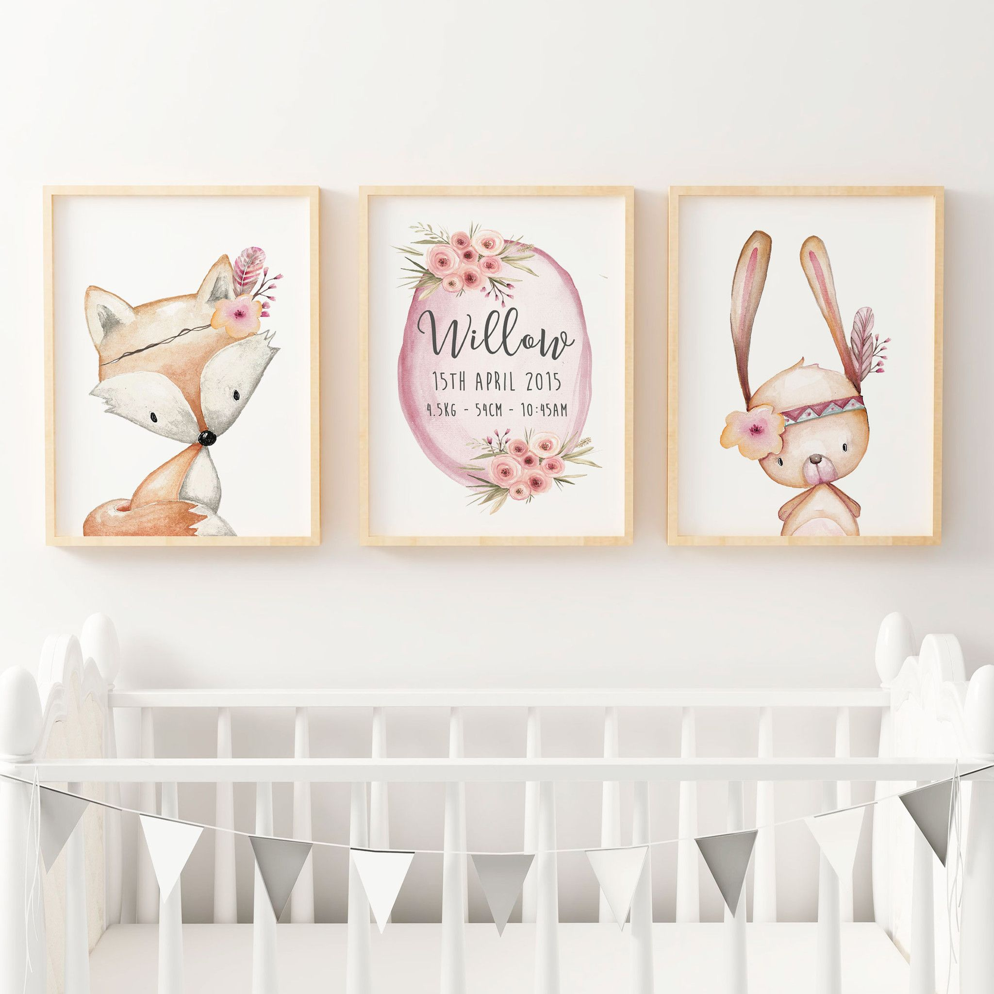 Baby S Fl Woodland Nursery Or Bedroom Wall Art Decor Print Set Personalised