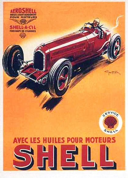 Vintage French Shell Motor Oil Advertisement Poster A3 Print