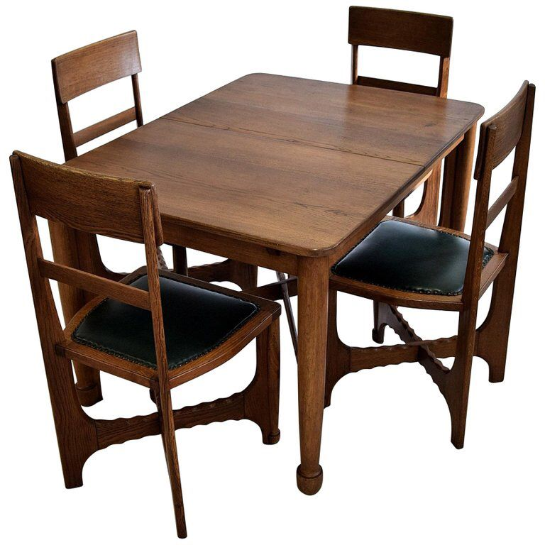 Early 1900s Art And Craft Oak Dining Set