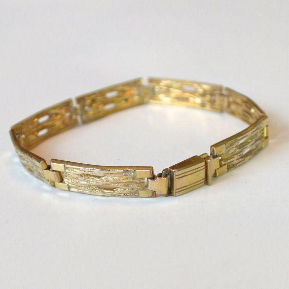 Atctteam Vintage Rolled Gold Chain Link Bracelet