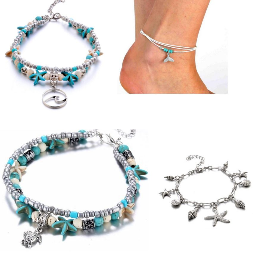 Ankle Bracelet Turquoise Beads Silver Tone Bohemian Ladies Womens