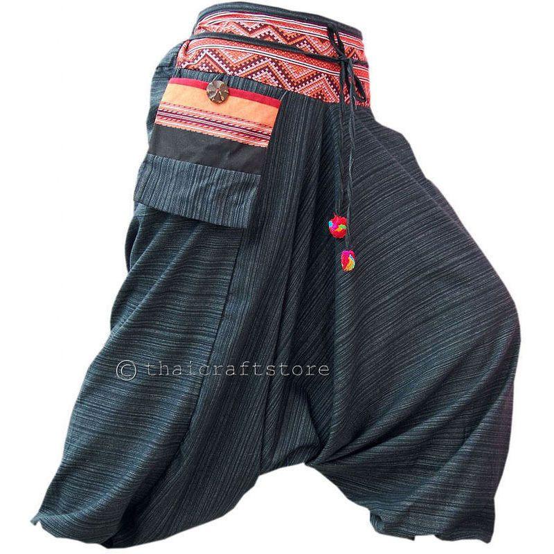 Hippie Boho Harem ALADDIN Pantaloni Baggie Ali Baba Pantaloni Retrò Vintage Hippy