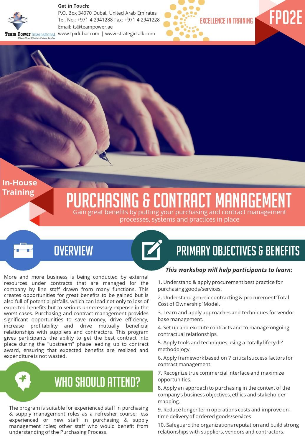 Purchasing  Contract Management InHouse Training  Contract
