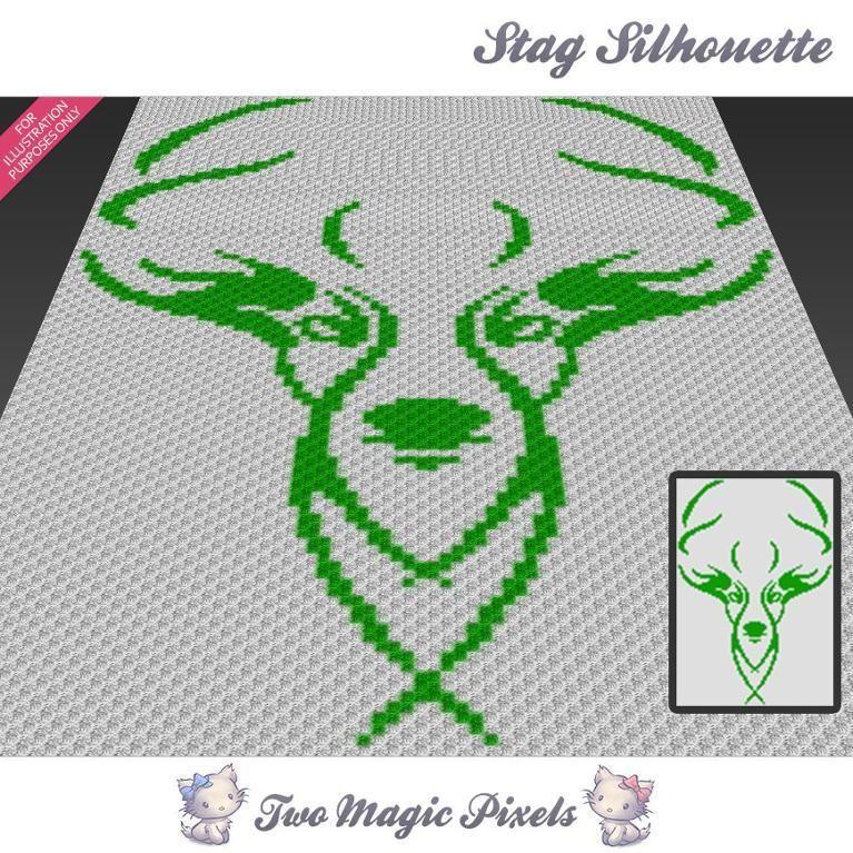 Stag Silhouette C2C Crochet Graph | Punto de cruz y Puntos