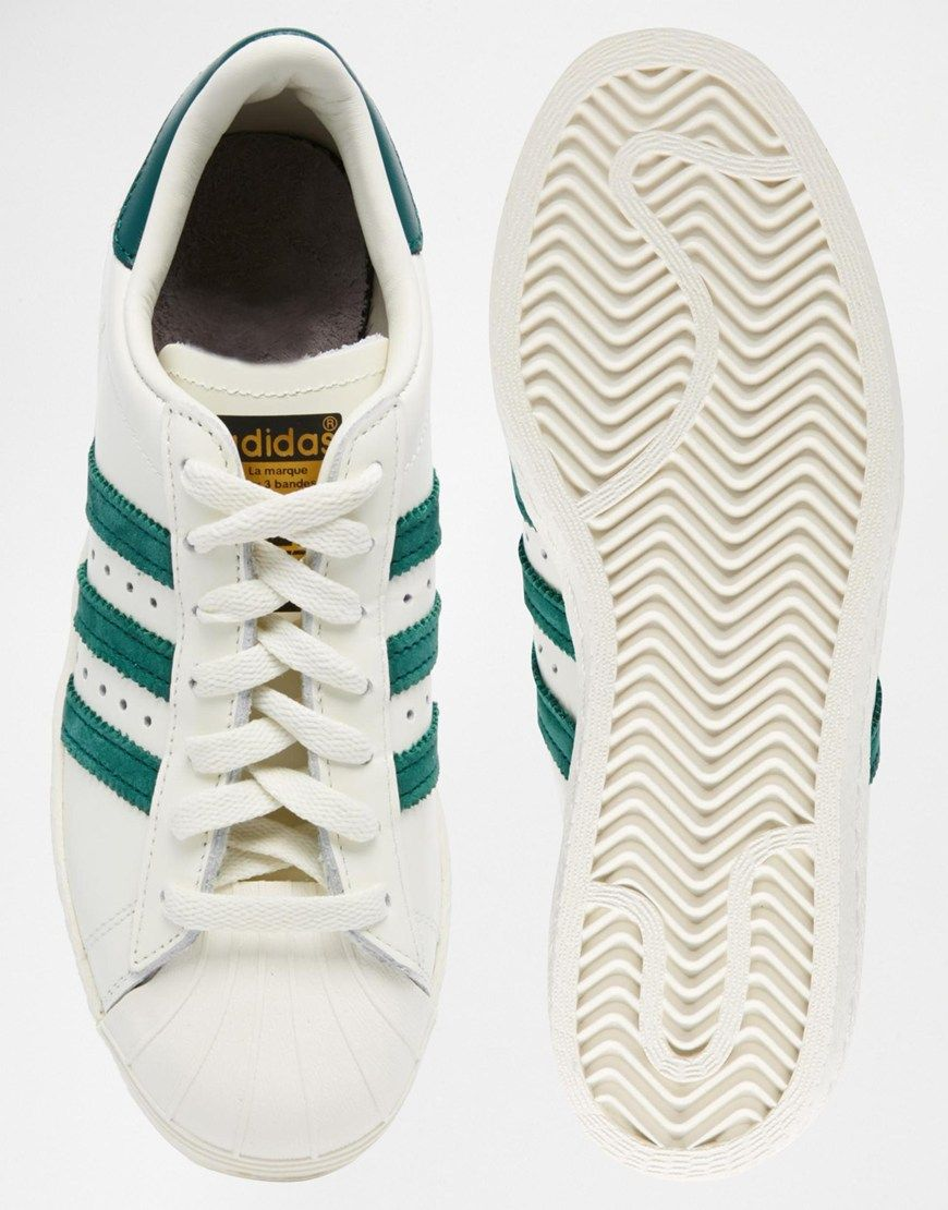 Image 3 of adidas Originals Superstar 80s DLX White & Green Trainers
