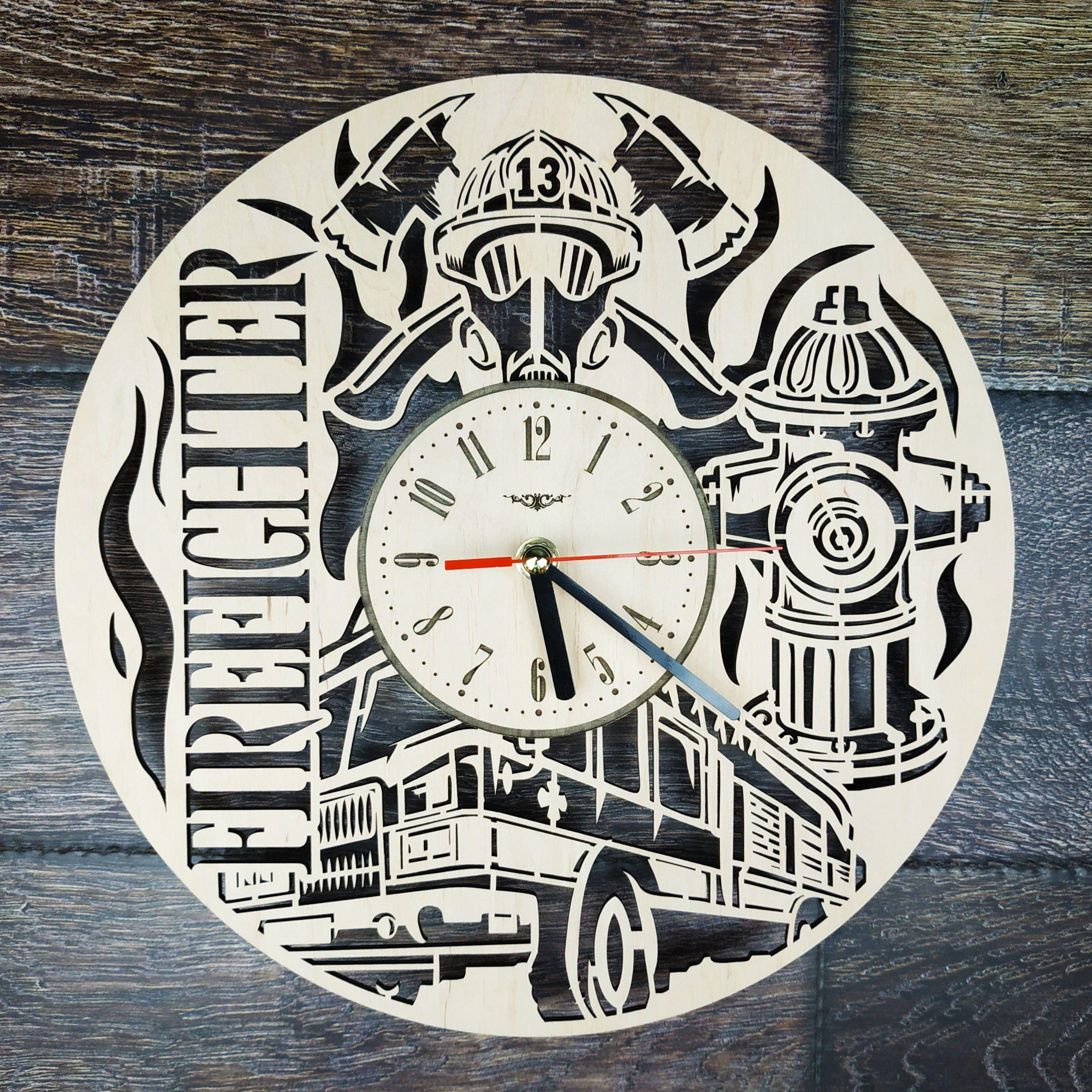 Firefighting Wood Wall Clock Fireman Gift Idea For Men Woman Kids