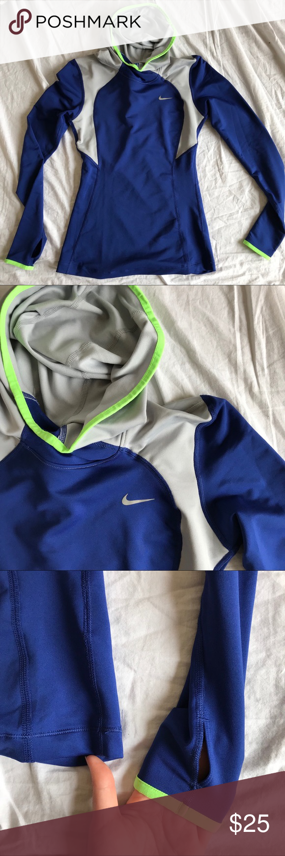nike running hoodie super stretchy breathable material with a cowl neck hood and neon green piping. this is such a staple for workouts, it's very good quality. no flaws, just need room in my closet. make me an offer <3 Nike Tops Sweatshirts & Hoodies