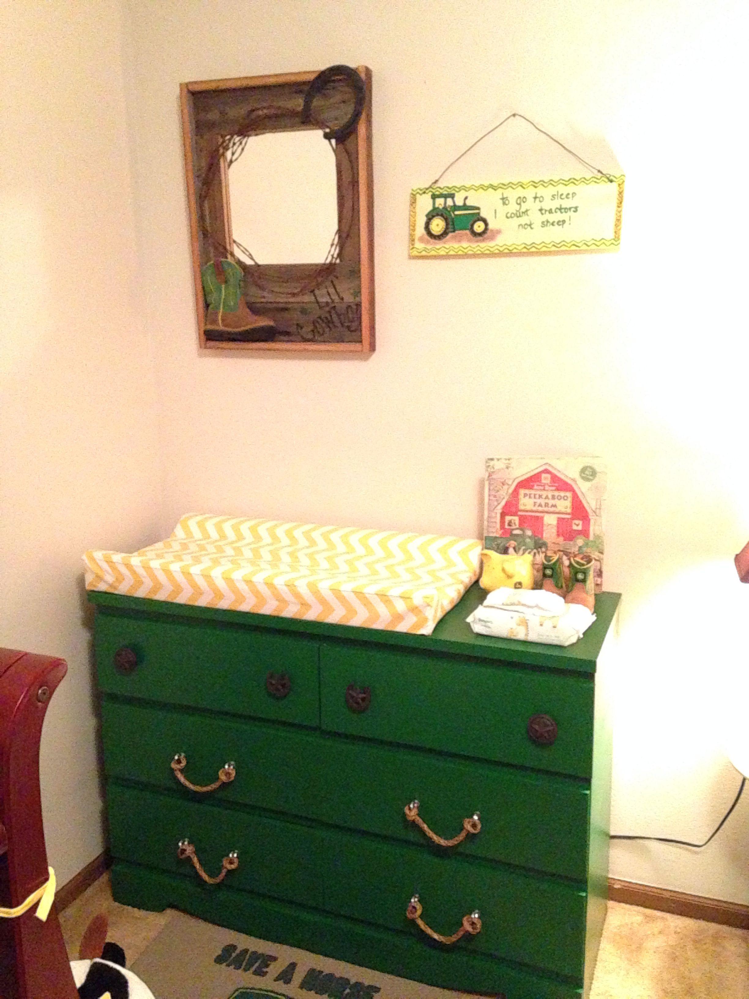 My Sons John Deere Nursery Grandpas Dresser Painted Green Homeade Rope Pulls Other Cute Diy Stuff