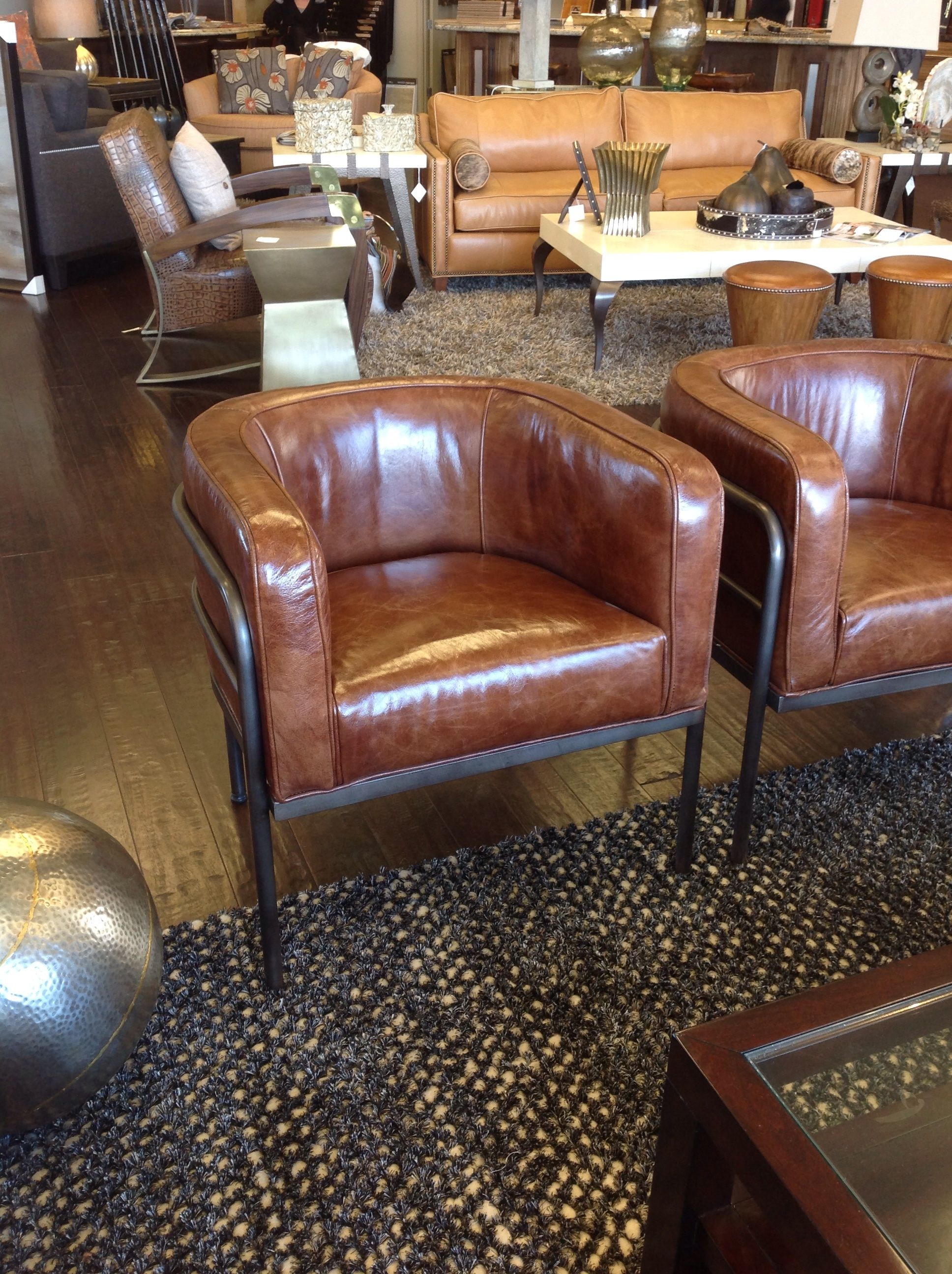 Smooth Brown Leather Lounge Chairs With Metal Details Pacific Design Group