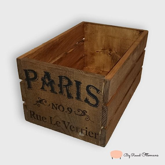 Old Style Rustic Wooden Crate With Paris by BigRoundOttomans