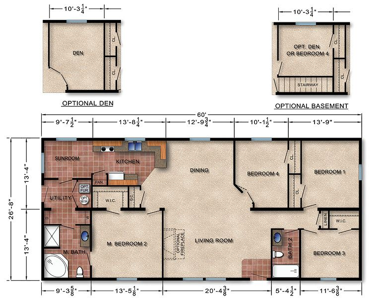 Michigan Modular Home Floor Plan 113-would want to make kitchen ...