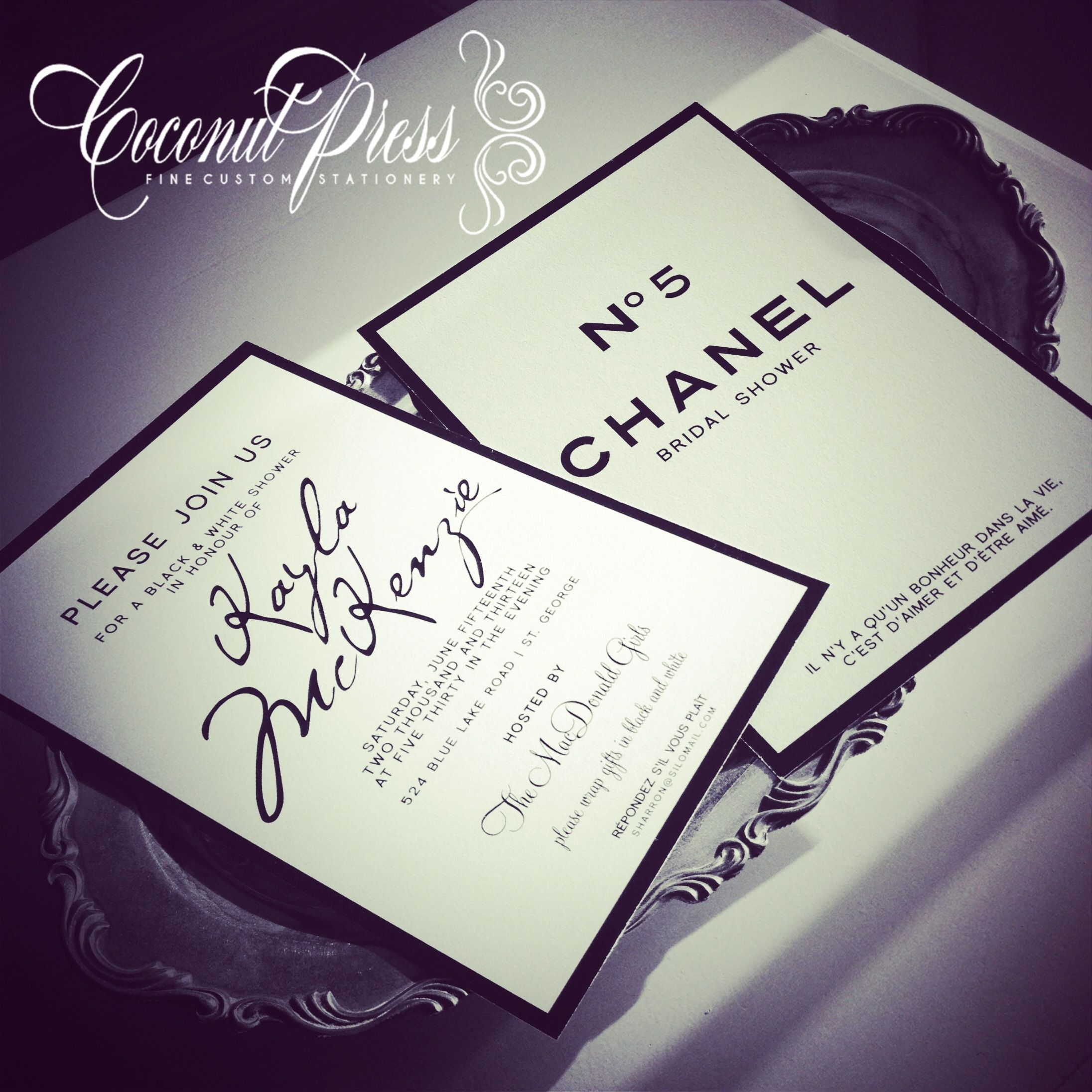 Coco Chanel Inspired Black White Shower Invitations By Coconut Press