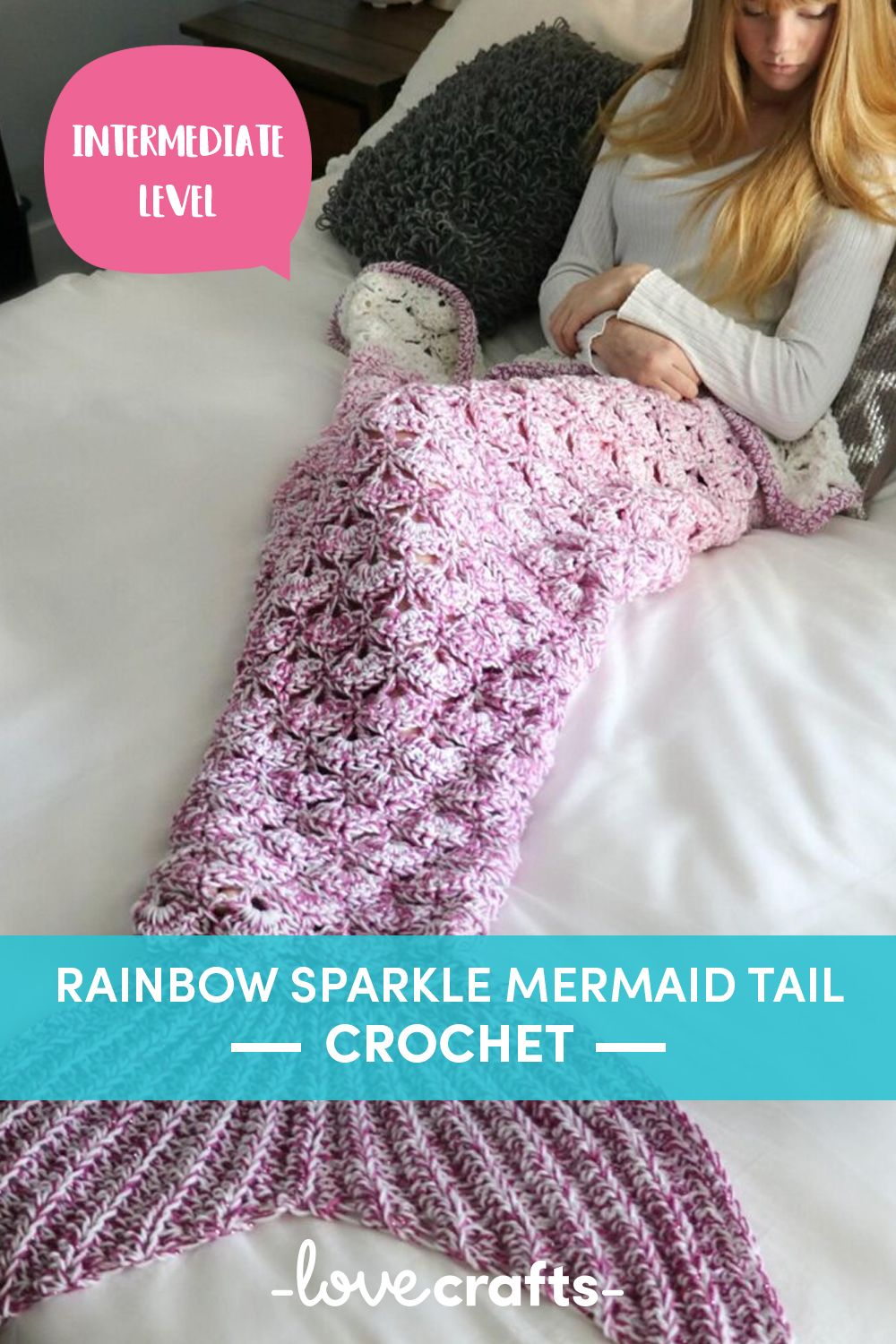 Adult Infant Shimmery Crocheted Mermaid Tail Blanket Child