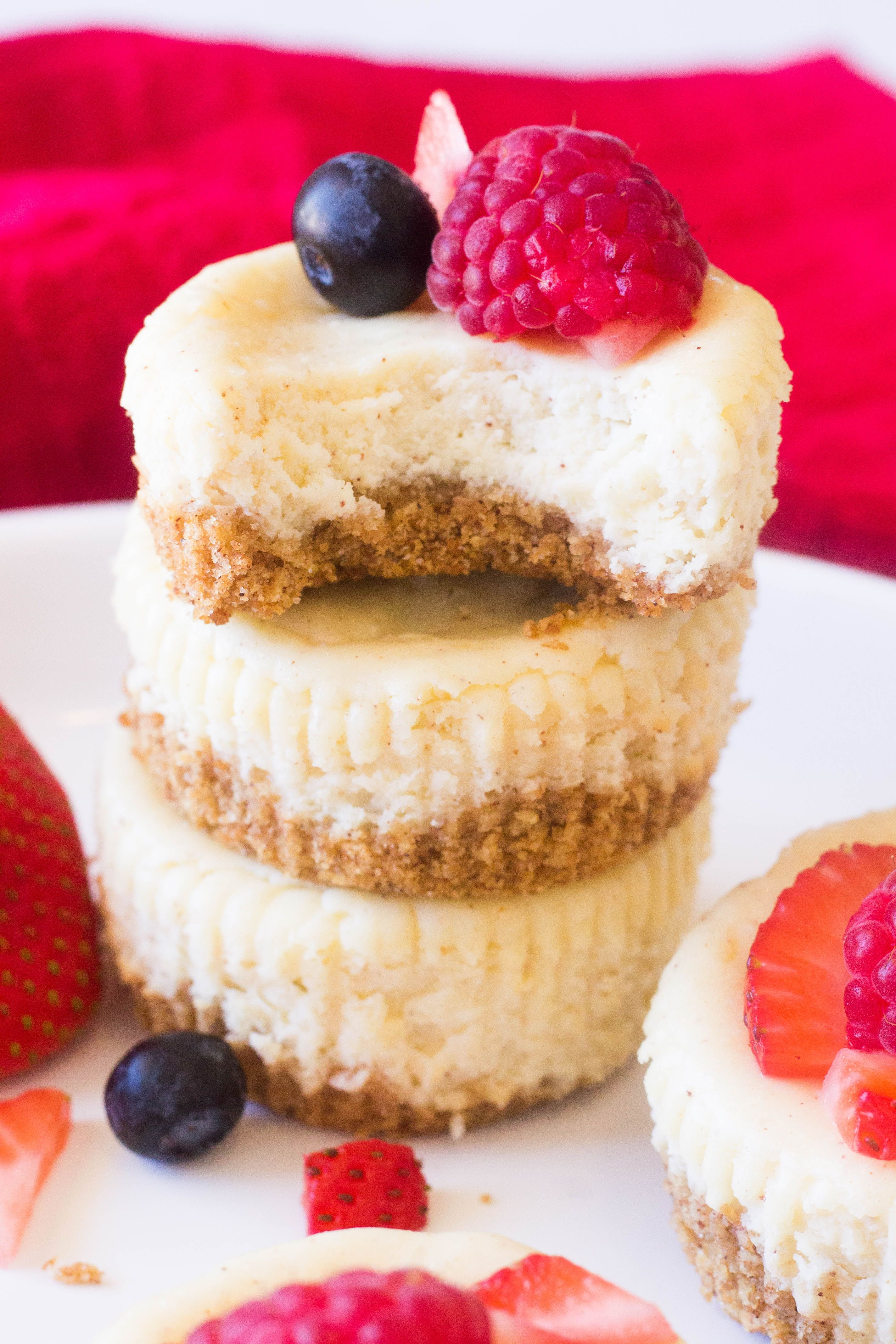 Best Ever Mini Cheesecake Bites These Best Ever Mini Cheesecakes not only are one of the easiest desserts I've made, they are creamy, thick and have a hint of cinnamon! You can have perfect bites of cheesecake in less than an hour!